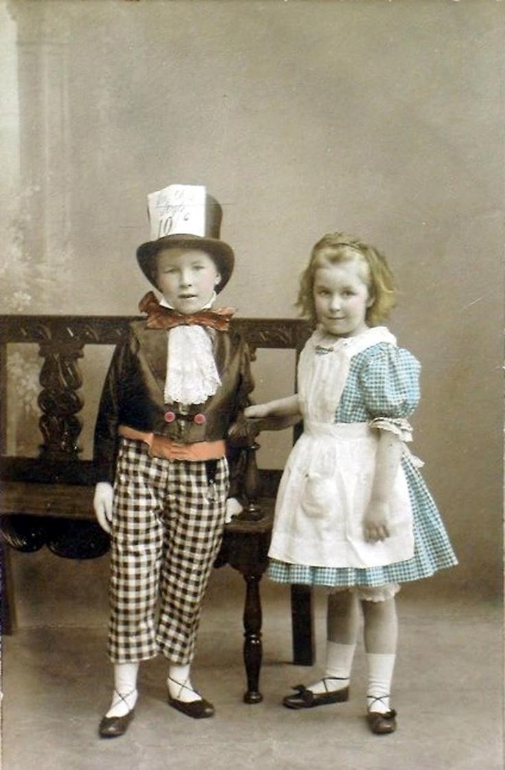 Vintage children in costume: Mad Hatter & Alice