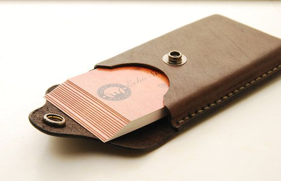 Handmade Leather Business Card Holder With by EchoSix on Etsy