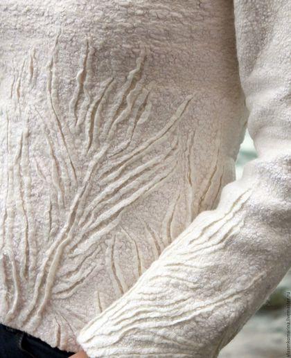 Кофты и свитера ручной работы. Свитер валяный Морозные узоры. Марина Власенко. Интернет-магазин Ярмарка Мастеров. Абстрактный
