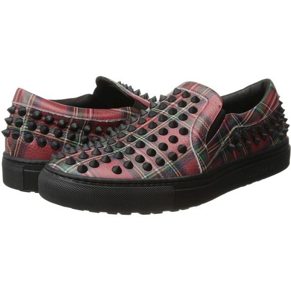 Philipp Plein Isolation Sneaker (Red) Men's Shoes ($438) ❤ liked on Polyvore featuring men's fashion, men's shoes, men's sneakers, red, mens red slip on shoes, mens plaid shoes, mens red shoes, mens metallic shoes and mens slipon shoes