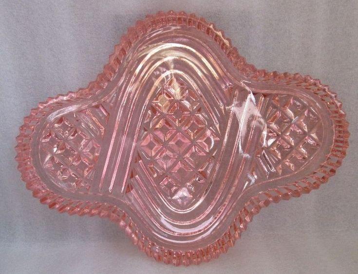 PINK DEPRESSION GLASS WAFFLE VANITY DRESSING TABLE TRAY ART DECO DISH AS FOUND #ArtDeco
