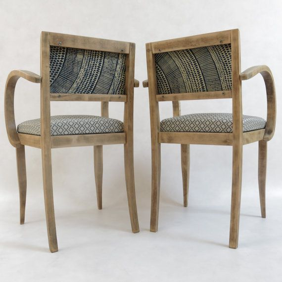 Fauteuil bridge LaMetisse African wax fabric chair par LaMetisse