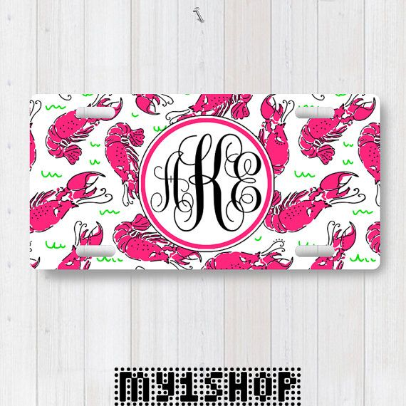 Personalized Monogram License Plate. Custom License Plate. Front License Plate. Shrimps