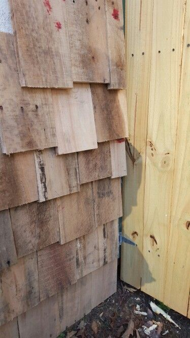 Best Made Shacker Shingles Out Of Pallet Wood On Side Of My 400 x 300