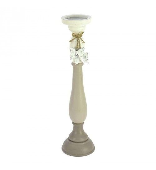 WOODEN_POLYRESIN CANDLE HOLDER IN BEIGE COLOR 11X11X47