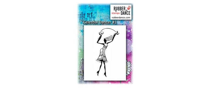 Celestial Dancer #1. UN-mounted, red rubber stamp. 7,5 cm tall.  Dancing with the Stars ... :-)