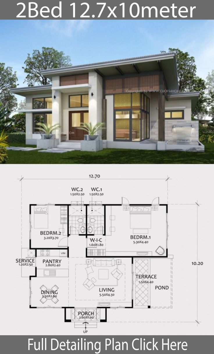 Home design plan 12.7x10m with 2 Bedrooms Minecraft