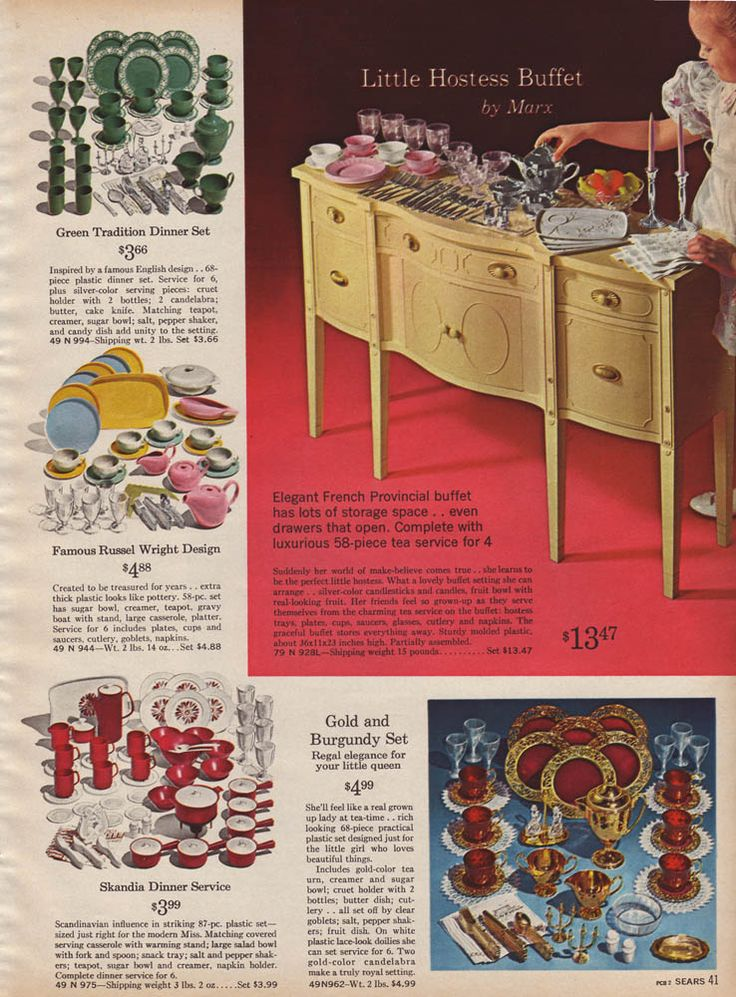 Little Hostess buffet from the 1964 Sears Wishbook, shown with various toy dish sets. I remember the television commercials for this buffet.