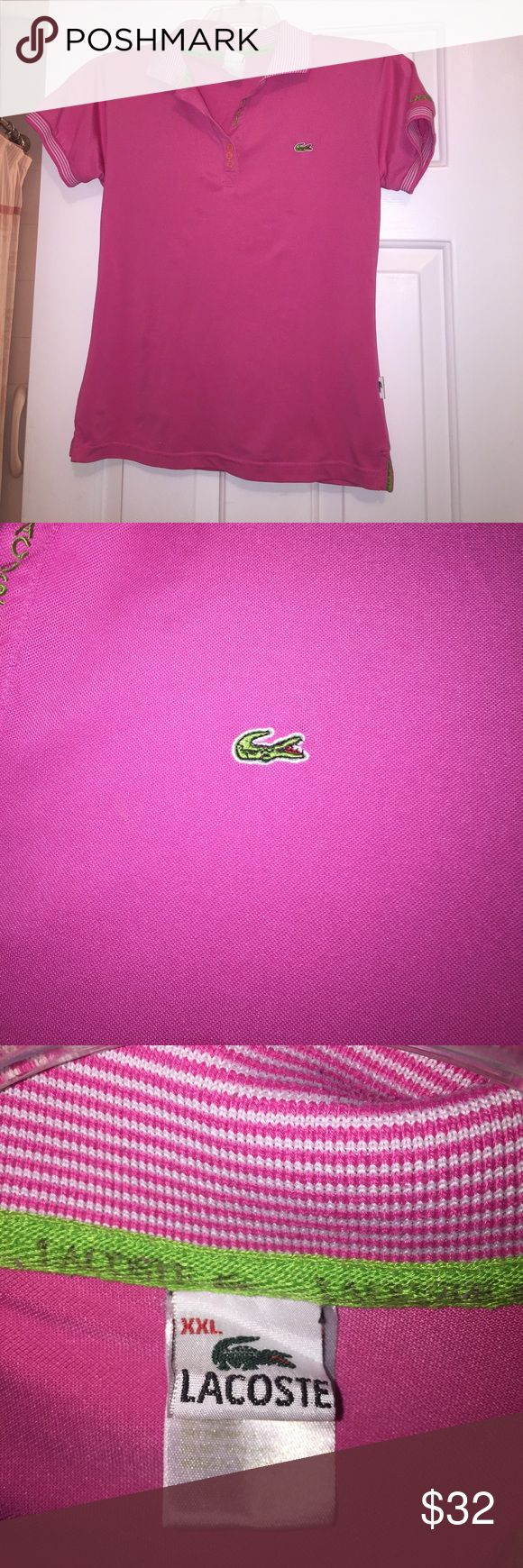 Short sleeve pink polo shirt 🌷 🌷slightly fitted hot pink polo shirt 🌷 striped collar and at the end of short sleeves 🌷 Lacoste Tops