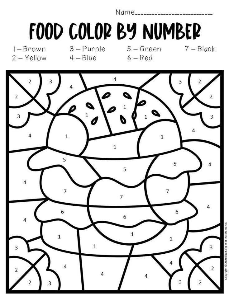 Free Printable Color By Number Food Preschool Worksheets Preschool Worksheets Kindergarten Colors Color By Number Printable Coloring food worksheet for kindergarten