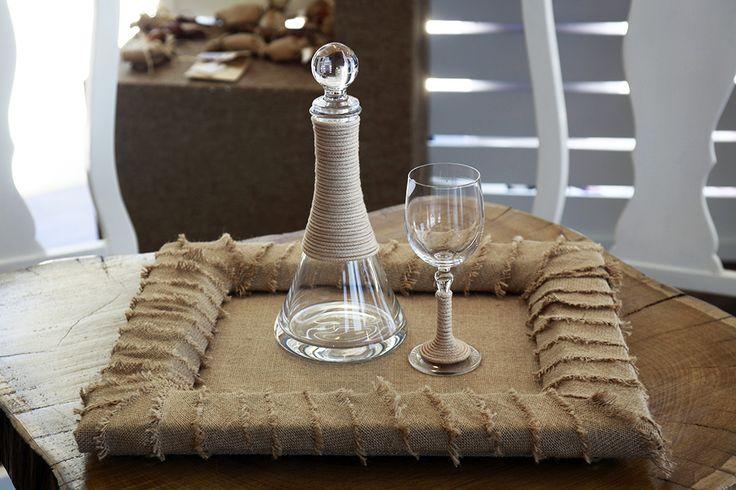 Σετ καράφα ποτήρι & δίσκος χειροποίητα διακοσμημένα Atelier Zolotas