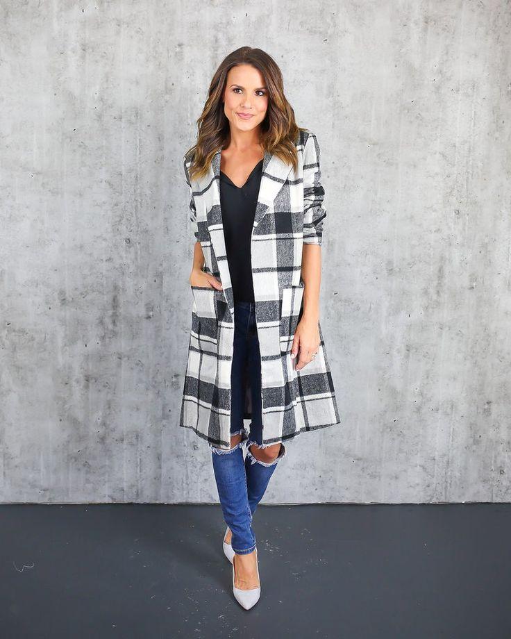 Clara Plaid Pocketed Coat