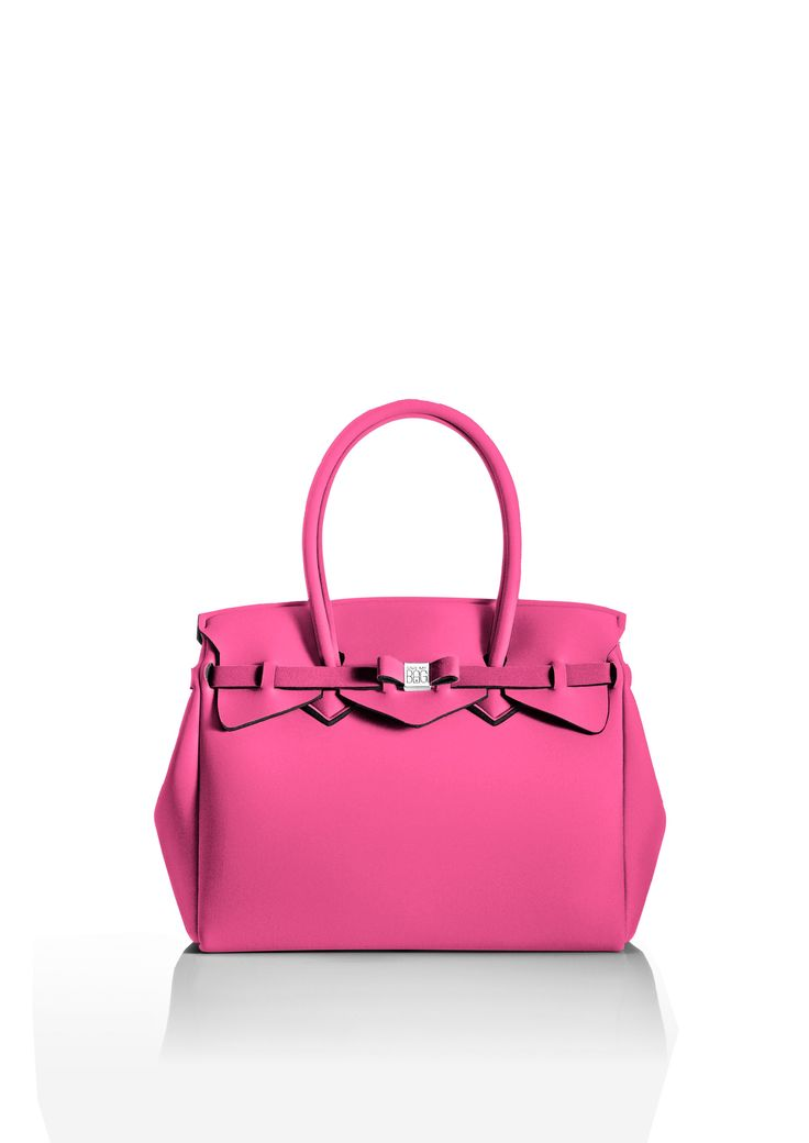 This iconic tote is available in over 30 colours to suit every style!   Light and versatile, the Miss bag is our collection's best seller. The covetable tote comes with a bow and interchangeable strap to make the bag customisable.  Size  340 x 290 x 180 mm  380g  Made in Italy  Vegan Friendly  Made from Poly-Lycra Fabric   Bubblegum Pink