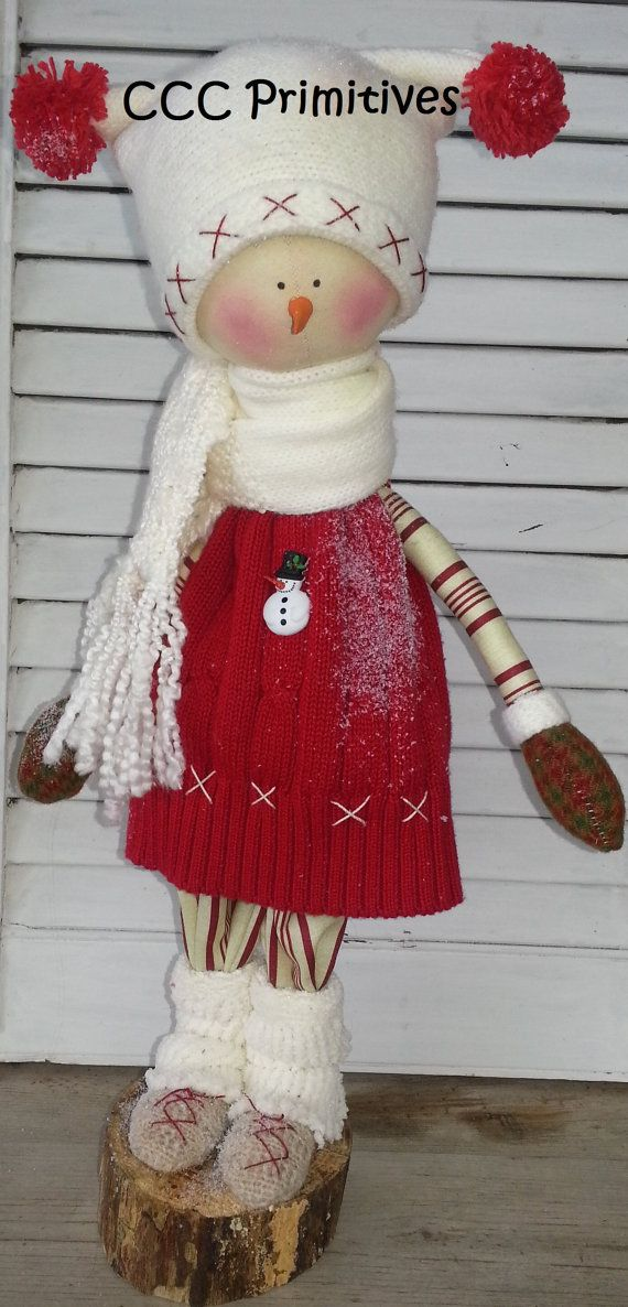 Sally Primitive Snow Girl  Handmade Primitive by CCCPrimitives, $59.00
