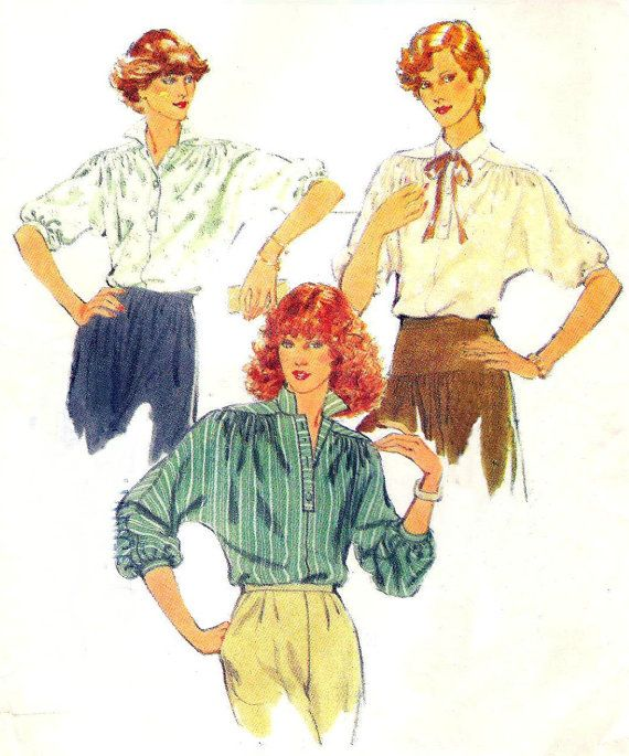 poet shirt pattern  Style 2608  70s poets blouse  by QuinceVintage