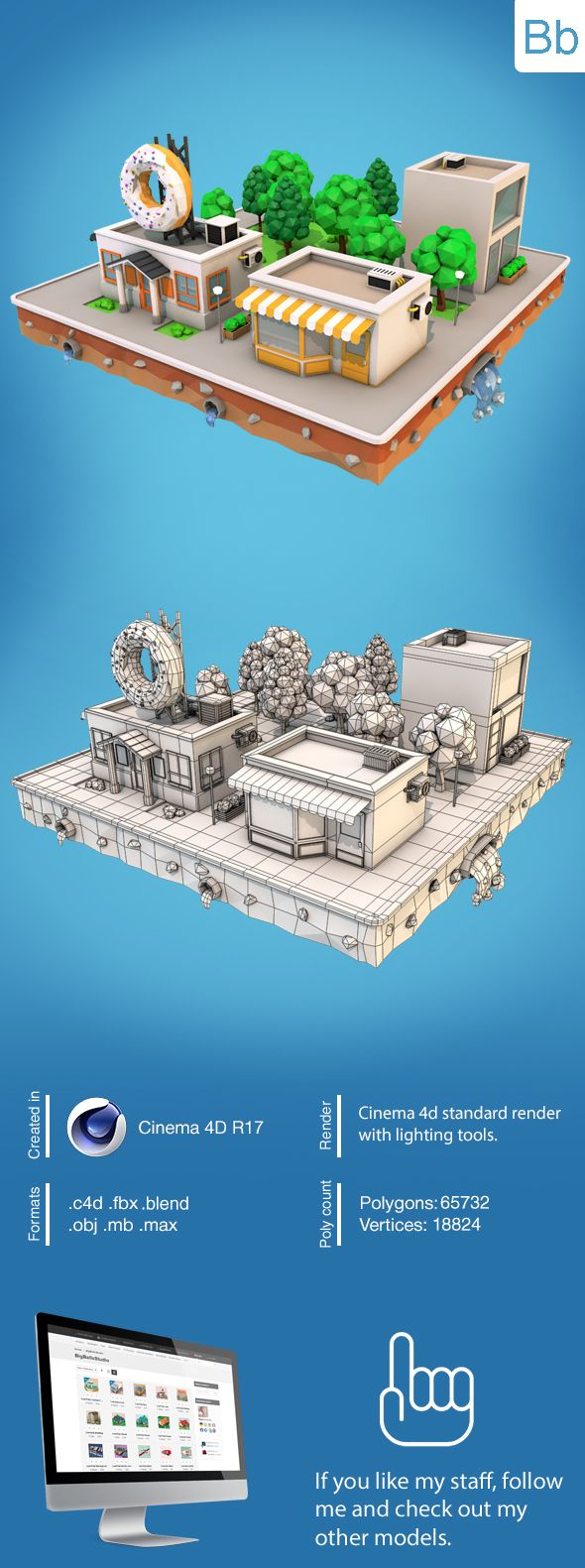 Low poly city block with donut cafe and two buildings