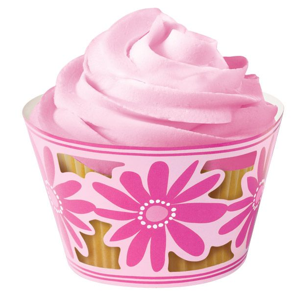 Pink Flower Cupcake Wrappers (Set of 18)