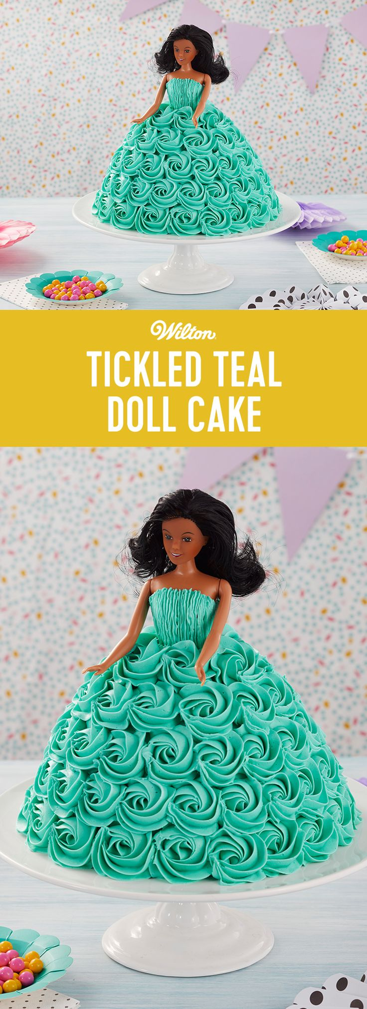 This Tickled Teal Doll Cake is ready for some fun! Showcasing a beautiful rosette-covered dress, this doll cake will be birthday ready in no time. Use the Wonder Mold cake pan to form the cake then cover it with lovely rosettes for a dress that is sure to make any birthday girl happy! A quick and easy cake for beginning decorators, this Tickled Teal Doll Cake is sure to become a well-loved treat for all! #wiltoncakes #cakes #dollcake #wondermold #birthday #buttercream #birthdayparty