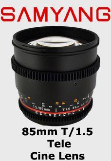 Samyang 85mm T1.5 Tele Sinema Serisi Objektif  Canon EF Mount Uyumlu Samyang Sinema Serisi Lens    Diyafram Aralığı: T/Stop 1.5 – 22  Fokus Aralığı: 0.3m – Sonsuz  Açı: 28°    Follow Focus aparatlarına uyumludur. Adaptör ring gerektirmez.  Rezervasyon & Bilgi için: 0533 548 70 01 info@filmekipmanlari.com http://filmekipmanlari.com/kiralik-samyang-85mm-t1-5-lens/