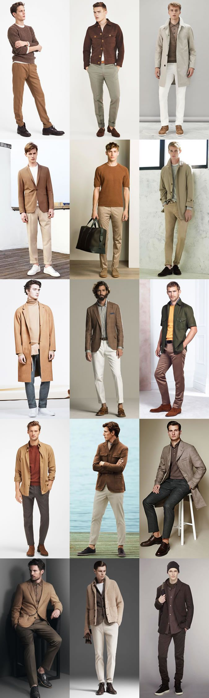 Men's Earth Tones Palette Outfit Inspiration Lookbook