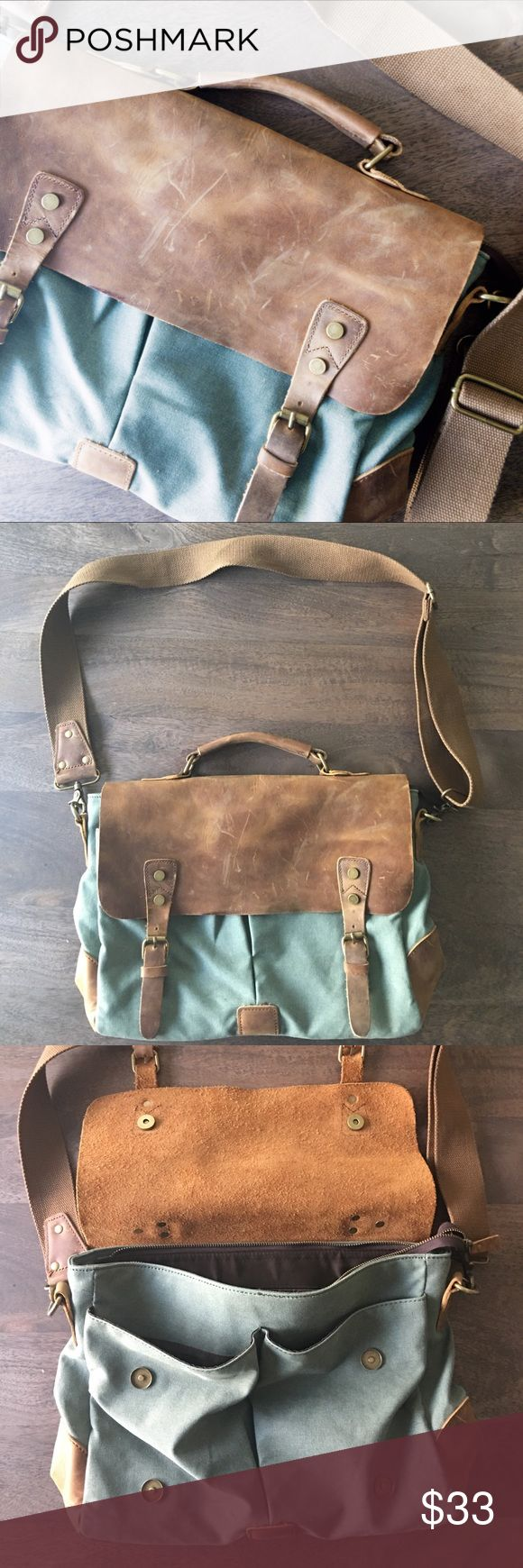 """Leather and canvas laptop bag Excellent used condition. Adjustable strap. Real leather and clean durable canvas. No brand name. 14.5"""" wide/10.5"""" high Bags Laptop Bags"""