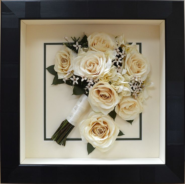 Hand tied bridal bouquet of #avalanche roses preserved and framed by #PreciousPetals #Don't Throw it! Frame It!