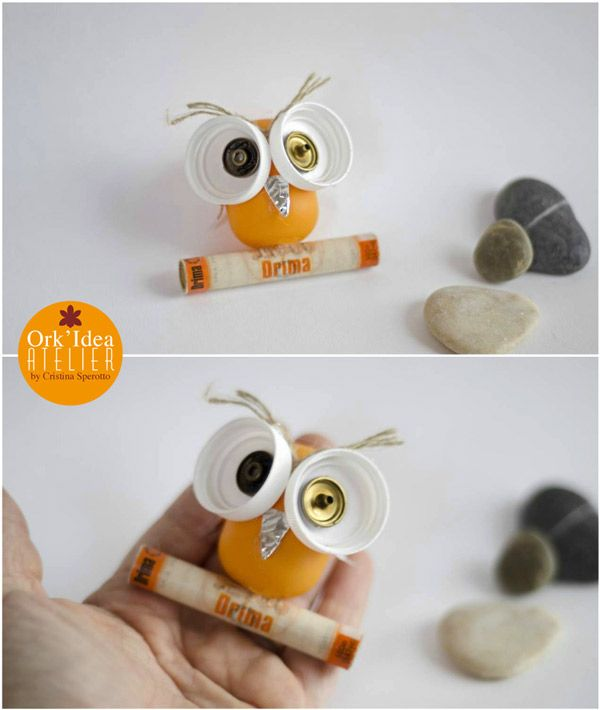 ORK'IDEA ATELIER: BAMBINI: CREARE LA CIVETTA CON MATERIALI DI RICICLO (Guest Post per Mercatino dei Piccoli) / How to create an owl with recycled materials