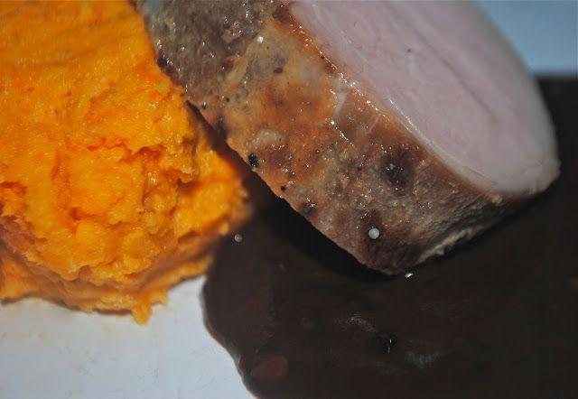 bourbon brown sugar pork tenderloin with mashed sweet potatoes ...