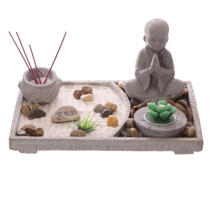 Rectangular Zen Garden Buddha Kit Candle Incense Rake New Ornament Figurine