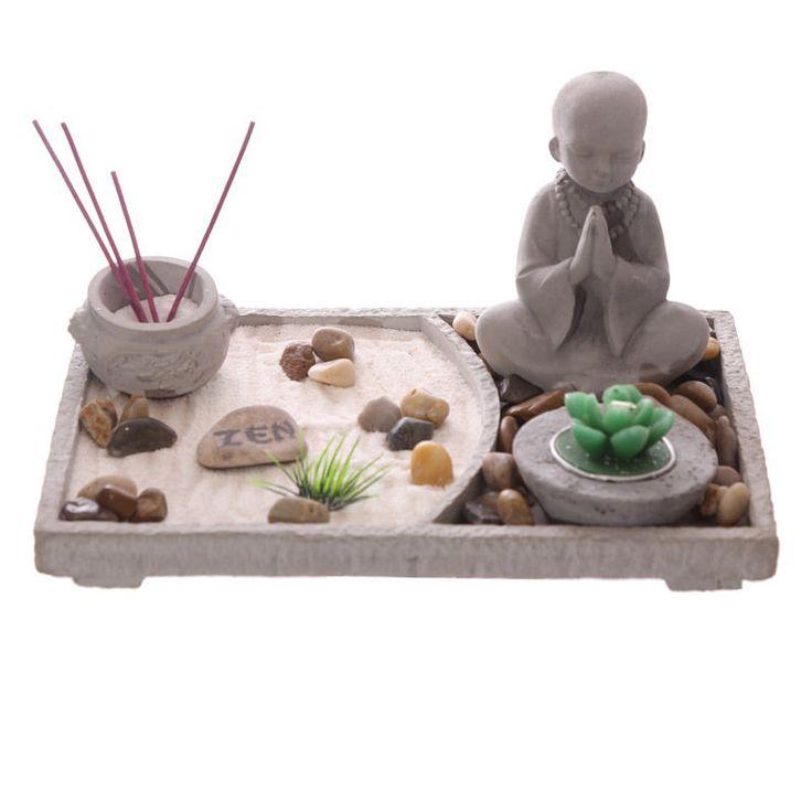 Rectangular Zen Garden Buddha Kit Candle Incense Rake New Ornament Figurine