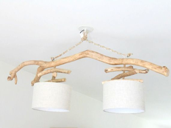 Lustre bois flotté - slow deco - Lin 28 cm - double suspension - Led - plafonnier