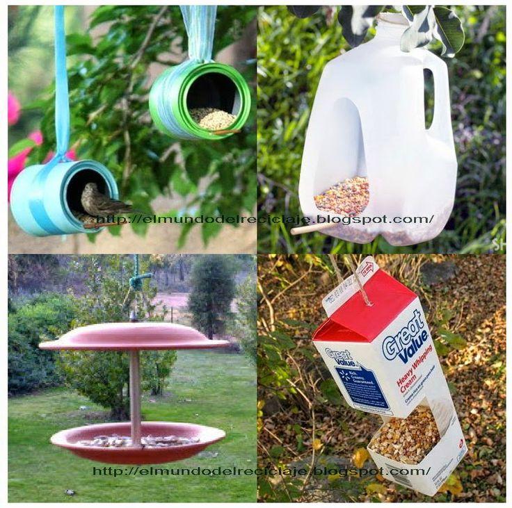EL MUNDO DEL RECICLAJE: Comedero de aves con material reciclado