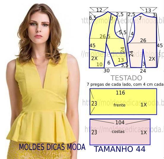 Faça a analise de forma detalhada do desenho do molde de blusa peplum. Esta blusa é simples e bela, veste de forma descontraída e elegante.