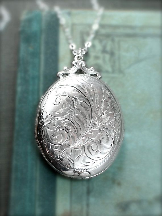 Sterling Silver Locket Necklace, Large Oval Vintage Pendant Hand Engraved – Everlasting Love