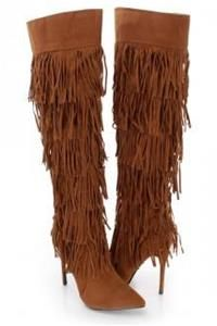 Camel Fringe Knee High Single Sole Heel Boots Faux Suede