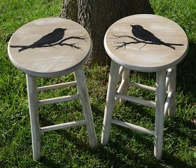 MAKE IT LOOK FABULOUS!: Birds on branches and wooden stools @Kylie Knapp Knapp Edlund
