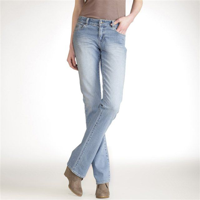 Straight-Cut Regular Waist Jeans, Inside Leg 84 cm - Get Up to 70% Off on Final Clearance Items at La Redoute.