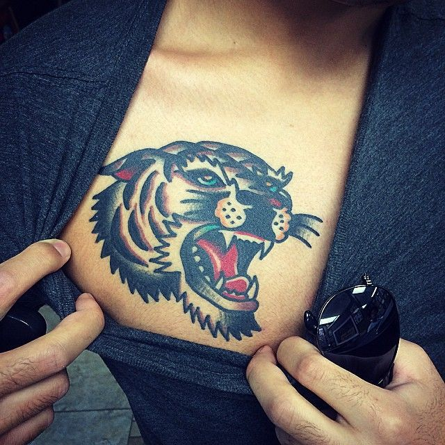Tiger Head Tattoo on Chest