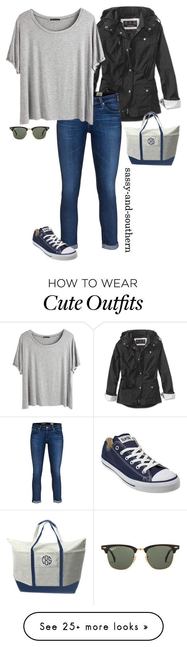 cute fall outfit by sassy-and-southern on Polyvore featuring Barbour, AG Adriano Goldschmied, Chicnova Fashion, Ray-Ban, CB Station, Converse, converse, rayban and sassysouthernfall
