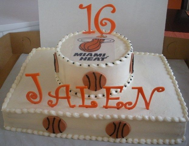 miami heat basketball cake | miami heat cake 12x18 inch sheet with a 8 inch round on top miami heat ...