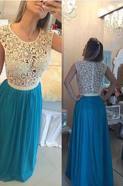 2016 Long Blue Prom Dresses Lace Capped Sleeves Pearls Chiffon Sheer Bodice Formal Evening Dresses