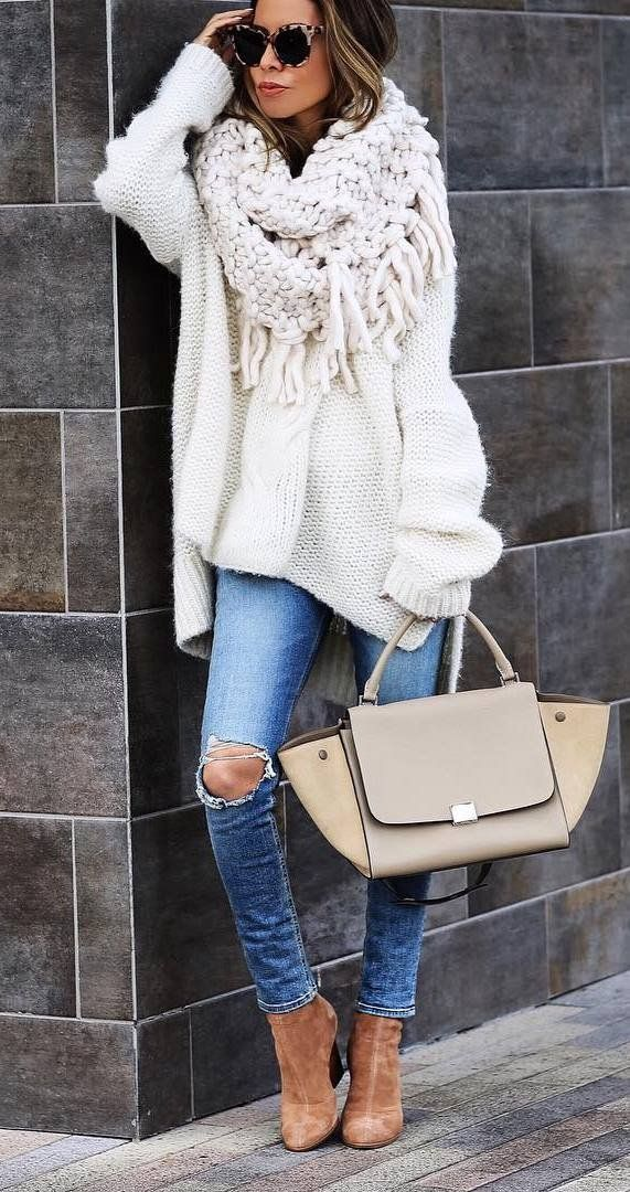 trendy outfit idea: fall fashion outfit when it's cold outside - chunky knits + rips