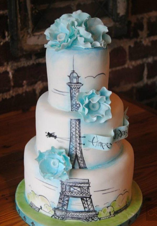 Bolo dos noivos inspirado em Paris. #casamento #bolodosnoivos #Paris #TorreEiffel #azul #flores