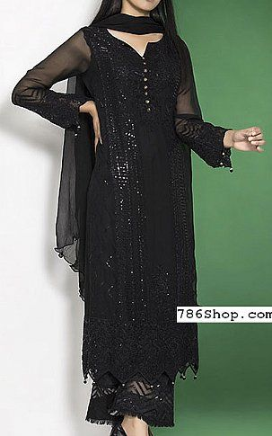 Black Crinkle Chiffon Suit | Buy Motifz Pakistani Dresses and Clothing online in USA, UK