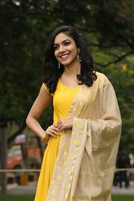 Ritu Varma Latest Hot Glamourous Yellow Dress PhotoShoot Images At Pellichoopulu Movie Success Meet  actress Ritu Varma