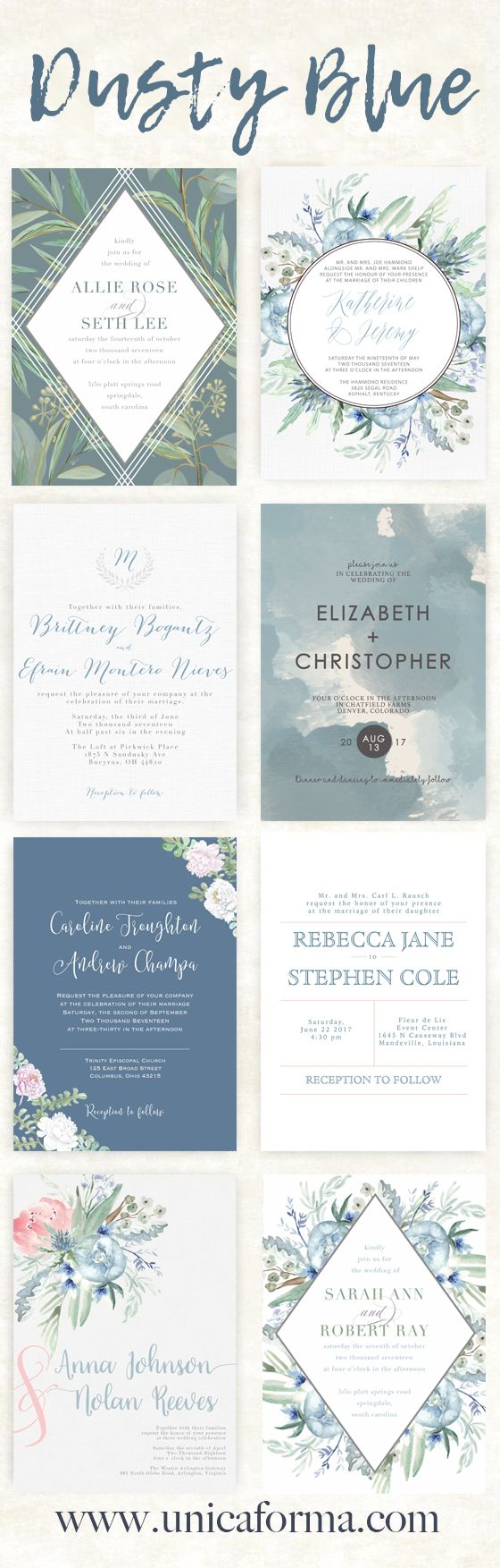 Dusty blue wedding invitations Slate blue wedding invitations Calligraphy wedding invitations Watercolor wedding