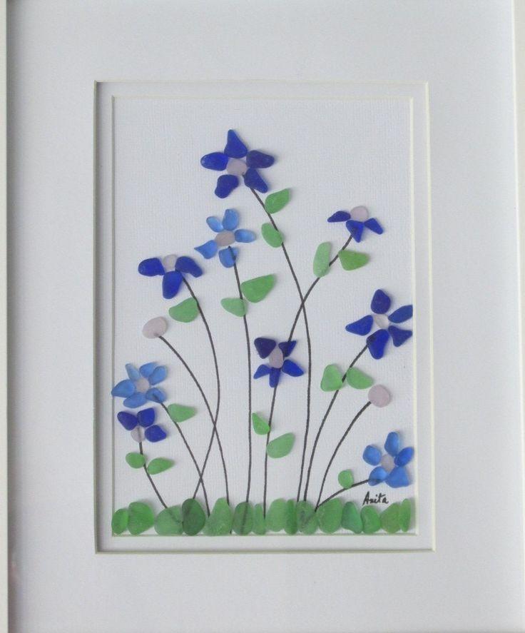 Handmade flowers artwork sea glass decor beach glass