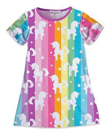88da1f3c95d Loving this Blue Rainbow Stripe Unicorn A-Line Dress - Toddler   Girls on   zulily!  zulilyfinds