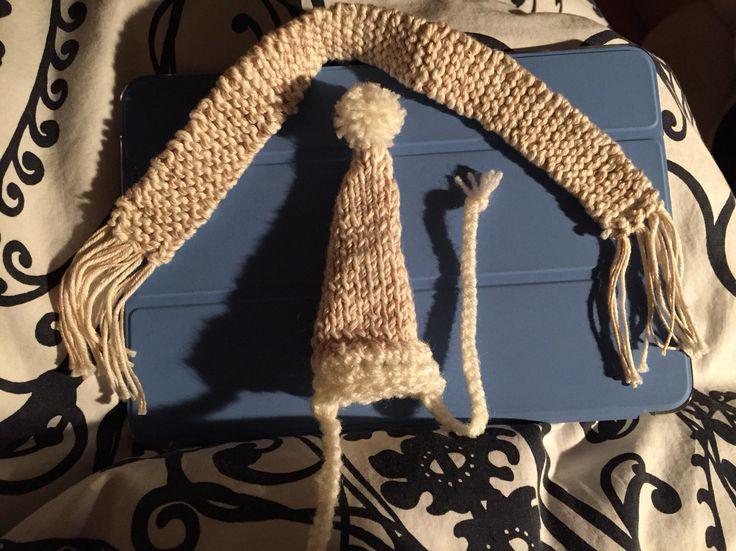Gorro en punto y ganchillo y bufanda para erizo