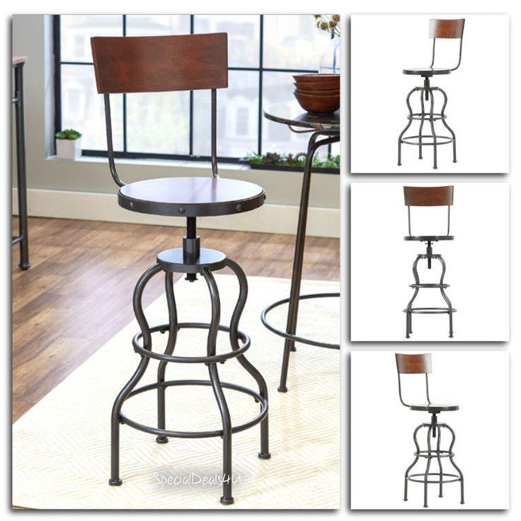 Swivel Bar Stool Wood Metal Industrial Chair Adjustable Set Brown Modern Pub New #MercurryRown #ModernIndustrialContemporaryAccent